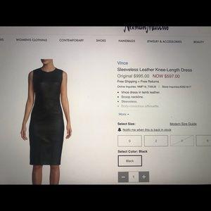 Vince stretch Leather Dress size 10
